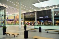 Interior of modern shopping center Galeria Mlociny. Warsaw, Poland. 18 June 2019. Interior of modern shopping center Galeria Mlociny royalty free stock photography