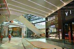 Interior of modern shopping center Galeria Mlociny. Warsaw, Poland. 18 June 2019. Interior of modern shopping center Galeria Mlociny stock image