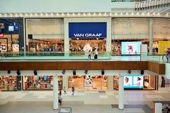 Interior of modern shopping center Galeria Mlociny. stock photo