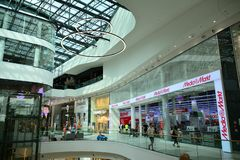 Interior of modern shopping center Galeria Mlociny. Warsaw, Poland. 18 June 2019. Interior of modern shopping center Galeria Mlociny stock photos