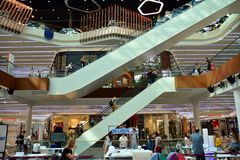 Interior of modern shopping center Galeria Mlociny. royalty free stock images
