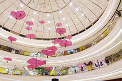 Ceiling of shopping mall center with fashion shops stores Stock Photography