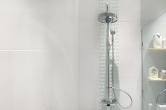 Interior of modern shower head in bathroom at home.Modern design Stock Image