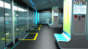 Interior of the modern space of the stopping complex for public transport. Design concept. 3D illustration. Interior of the modern space of the stopping complex Royalty Free Stock Image
