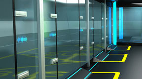 Interior of the modern space of the stopping complex for public transport. Design concept. 3D illustration. Interior of the modern space of the stopping complex Royalty Free Stock Photography