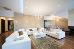 Interior of a modern spacious living room Stock Photo