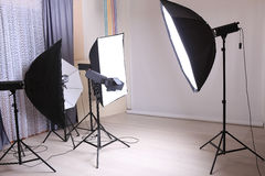 Interior modern studio photo. With studio lighting stock images