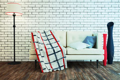 Interior in a Modern style with a brick wall. 3d illustration Stock Images