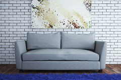 The interior in a modern style with a brick wall. 3d illustration Royalty Free Stock Photos