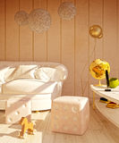 Interior in modern style with a variety of decorative elements. 3d concept Stock Images