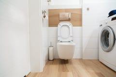 Interior modern stylish bathroom with white toilet Stock Photo