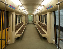 Interior of a modern subway car. Moscow. Interior of a modern subway car (built in 2006 royalty free stock images