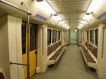 Interior of a modern subway car. In moscow stock photography