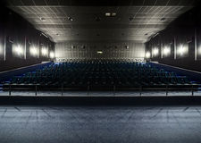 Interior of the modern theater. View from the stage to the hall Royalty Free Stock Images