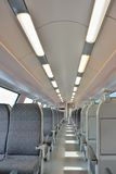 Interior of a modern  train, lights, chairs Stock Photo