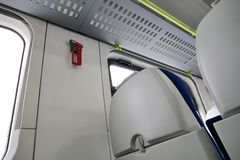 The interior of a modern train, seat backs.  royalty free stock photo