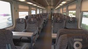 Interior of modern train wagon. Most comfortable conditions for passengers stock video footage