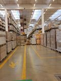 Interior of a modern warehouse stock image