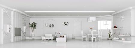Interior of modern white apartment 3d render Stock Image