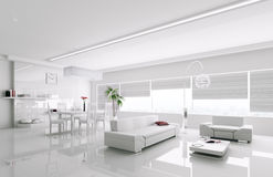 Interior of modern white apartment 3d Stock Photo