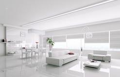 Interior of modern white apartment 3d Stock Photo