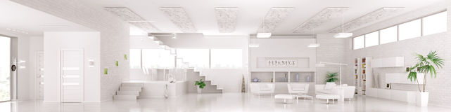 Interior of modern white apartment panorama 3d render Royalty Free Stock Images
