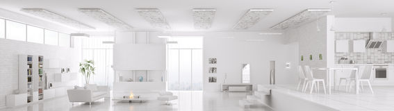 Interior of modern white apartment panorama 3d render Stock Photo