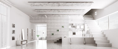 Interior of modern white apartment panorama Royalty Free Stock Photo