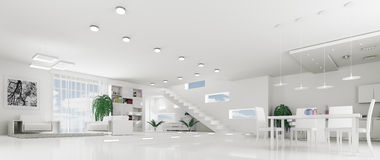 Interior of modern white apartment panorama Royalty Free Stock Image