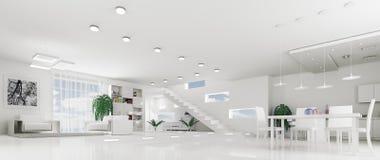 Interior of modern white apartment panorama Royalty Free Stock Image