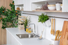 Interior of modern white kitchen with wooden kitchenware and mandarin tree on background. Interior of modern white kitchen with wooden kitchenware and mandarin stock photo