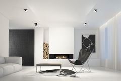 Interior of modern white living room 3d Stock Photos