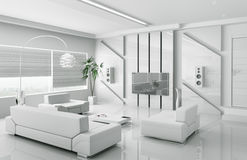 Modern white living room interior 3d Stock Images