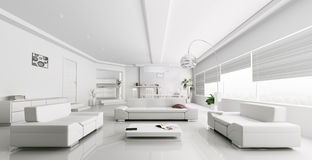Interior of modern white living room rendering Stock Image