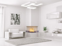 Interior of modern white room 3d render Stock Photo