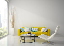 Interior of modern white room  with yellow sofa  3D rendering Stock Photography