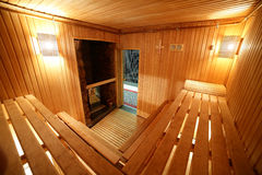 Interior of modern wooden sauna Royalty Free Stock Photography