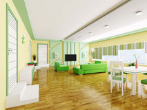 Interior of modern apartment 3d Royalty Free Stock Photography
