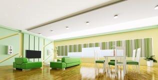 Interior of modern apartment panorama 3d Stock Image
