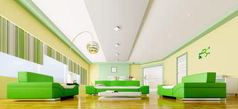 Interior of modern living room panorama 3d Stock Photos
