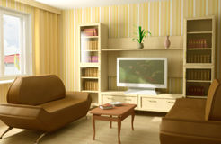 Interior moderno 3d Foto de Stock Royalty Free