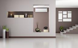 Interior moderno beige y marrón Foto de archivo