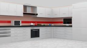 Interior moderno blanco de la cocina Imagenes de archivo