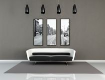 Interior moderno blanco y negro Imagenes de archivo