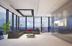 Interior moderno com as janelas de vidro grandes, Fotografia de Stock