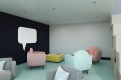 Interior moderno com cadeiras e a janela vazia da conversação ilustração royalty free