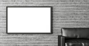Interior moderno com cartaz e rendição preta do sofá 3d Fotografia de Stock