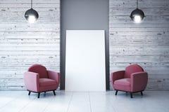 Interior moderno com cartaz vazio ilustração royalty free