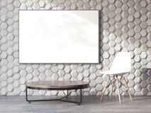 Interior moderno com lona na parede rendição 3d ilustração royalty free