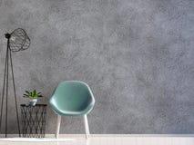 Interior moderno com mesa de centro e cadeira zombaria da parede acima 3d IL Imagens de Stock